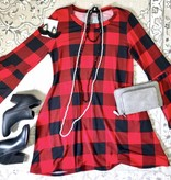 Red and Black Checkered Dress with Bell Sleeve