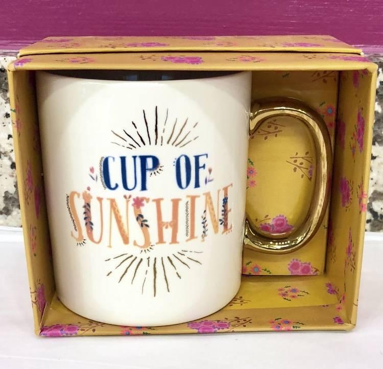 Cup Of Sunshine Gold Handled Mug