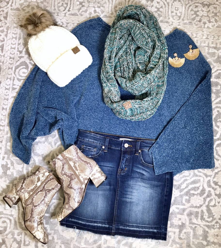 Midnight Blue Chenille Sweater