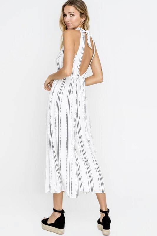 Off White Open Back Cropped Jumpsuit