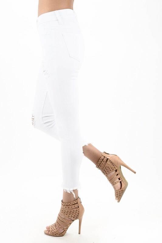 White Frayed Skinny Jean