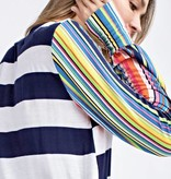 Navy Striped Top with Colorful Sleeves