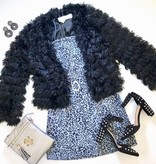 Blue Grey Leopard Fitted Dress