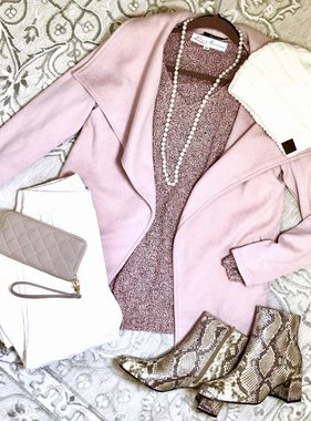 Pink Shawl Drape Front Brushed Cardigan w/ Ribbed Sleeve
