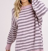 Blush and Grey Striped Chenille LS Sweater