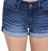 Dark Wash Cuffed Bottom Denim Shorts