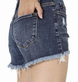 Medium Wash Leopard Pocket Detail Denim Shorts