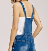 Medium Wash Denim Overall Shorts