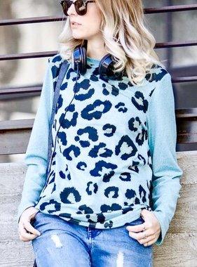 Teal Blue Leopard LS Top