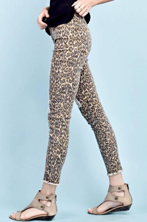 Leopard Distressed Skinny Jean