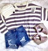 Lavender and Cream Striped LS Sweater