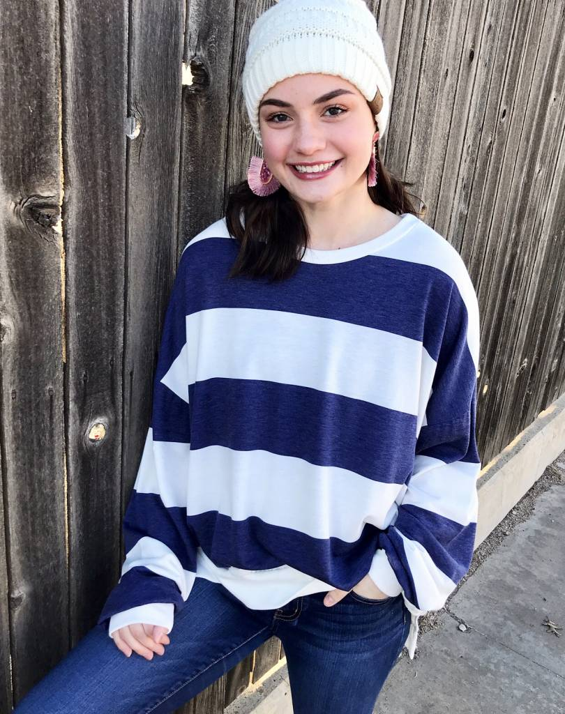 Navy/Off White Striped Ovesized Top
