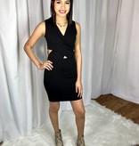 Black Mesh Side V-Neck Dress