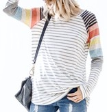 Heather Grey Color Block LS Top