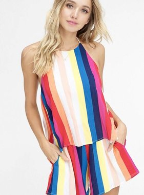 Multi Color Striped Romper
