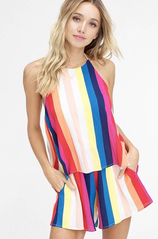 Multi Color Striped Romper