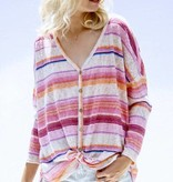Pink Mixed Stripe Button Up LS Top