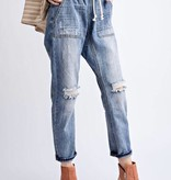 Medium Wash Distressed Boyfriend Cargo Jean