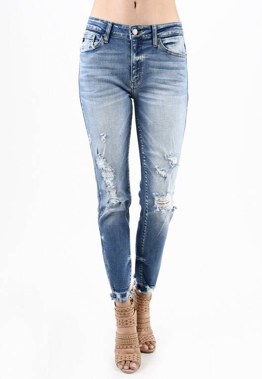 Kan Can Medium Wash Distressed Jean With Fringe Edge