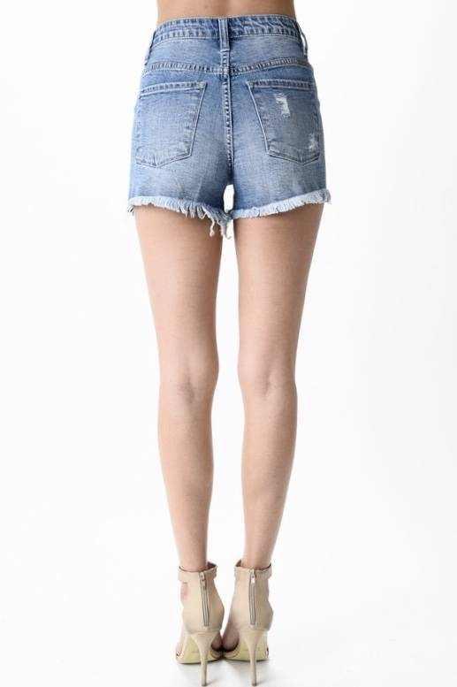 Kan Can Medium Wash Distressed Shorts