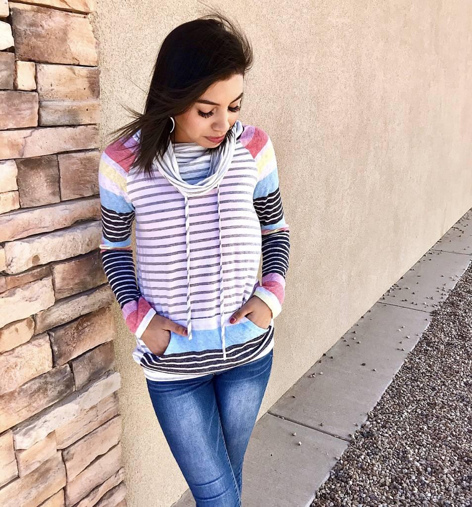Grey Mix Multi Striped Cowl Neck Top