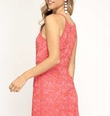 Coral Crochet Floral Lace Sleeveless Dress