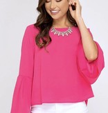 Pink Bell Sleeve LS Top- SALE ITEM