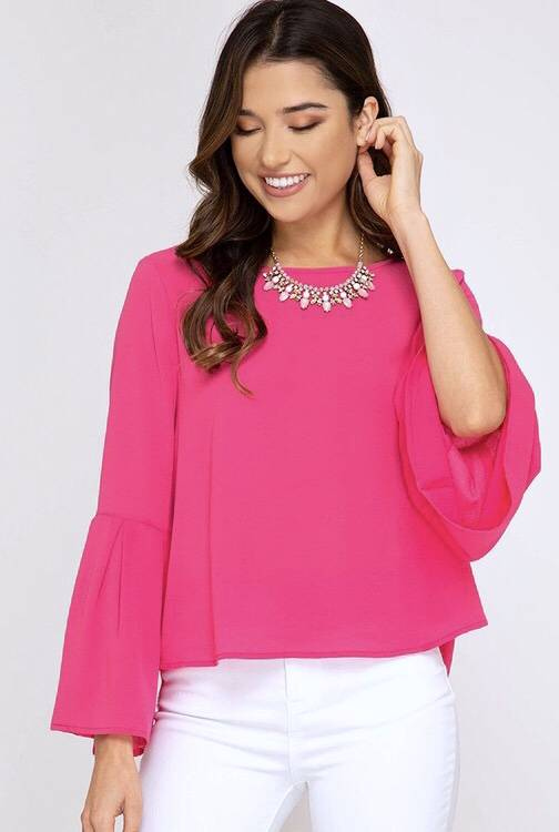 Pink Bell Sleeve LS Top