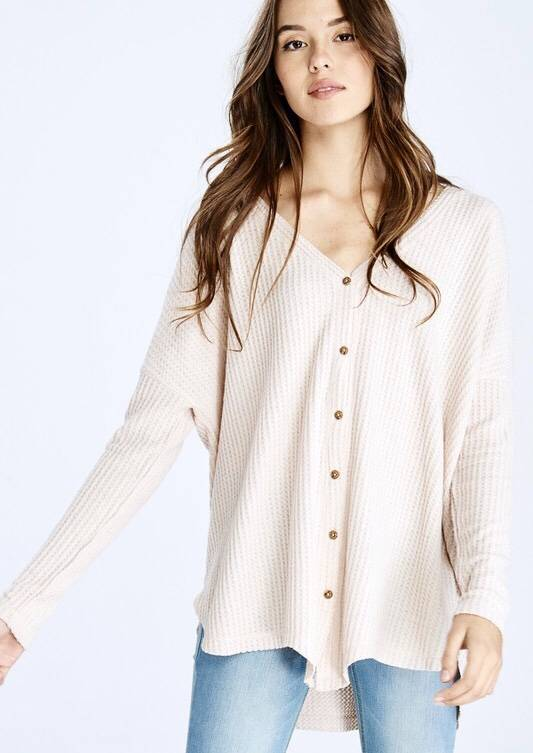 Taupe Hanna Soft Waffle Texture LS Top