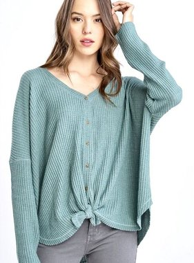 Dusty Teal Hanna Soft Waffle Texture LS Top