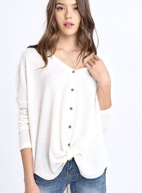 Ivory Hanna Soft Waffle Texture LS Top