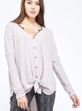 Pearl Grey Hanna Soft Waffle Texture LS Top- SALE ITEM