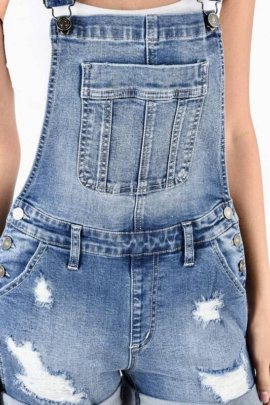 Kan Can Distressed Overall Shorts