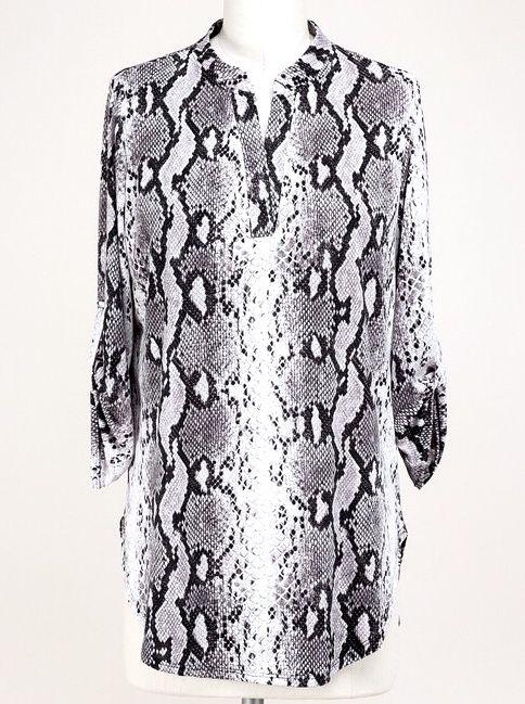 Grey Snake Skin Print V-Neck Top