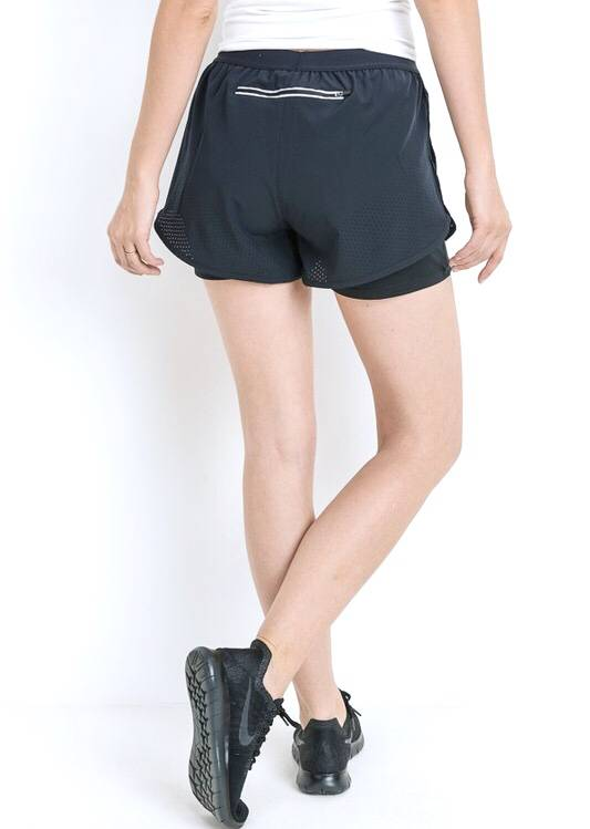 Black Lined Hybrid Active Shorts