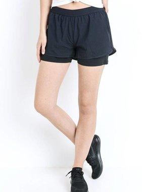 Black Lined Hybrid Active Shorts