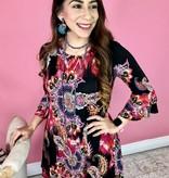 Black/Magenta Paisley Floral Print Tunic Dress- SALE ITEM