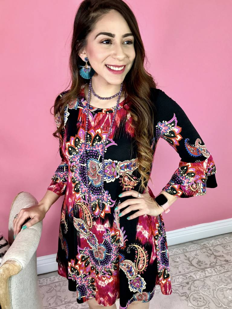 Black/Magenta Paisley Floral Print Tunic Dress