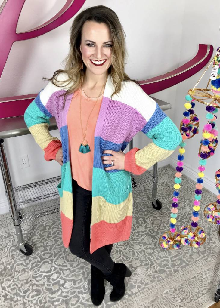 Sherbet Color Block Cardigan