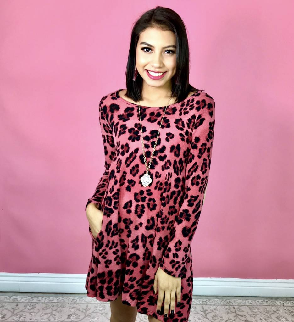 Pink Leopard Dress with Elbow Patches