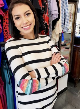 Ivory Wide Striped Top with Distress Elbow Patch