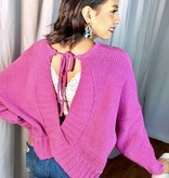 Orchid Chenille Sweater with Open Back