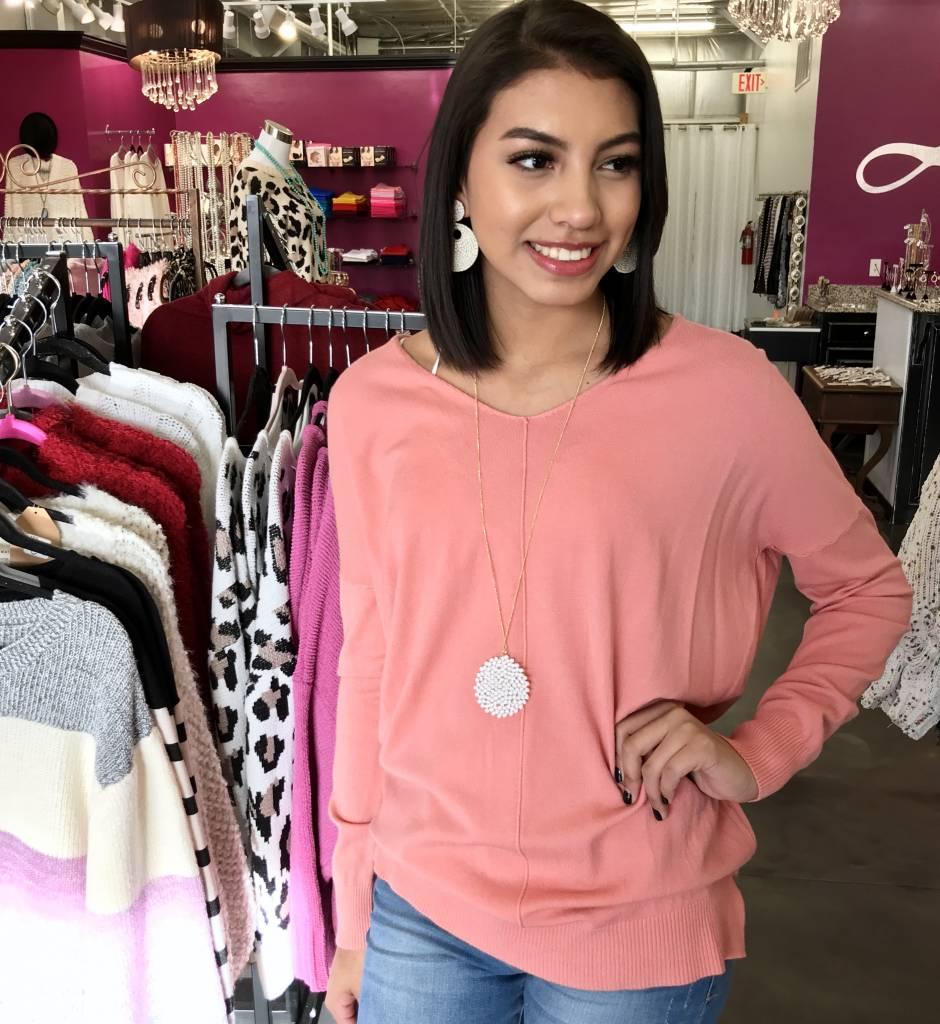 Light Pink V-Neck Sweater Top