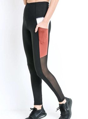 Black/Rust Mesh and Color Block Leggings