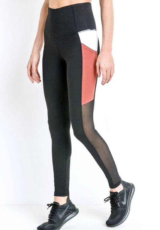 Black/Rust Mesh and Color Block Leggings
