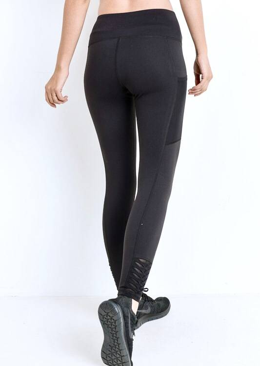 Black High Waist Origami Mesh Leggings
