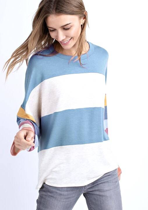 Dusty Blue/oatmeal Color Block Top