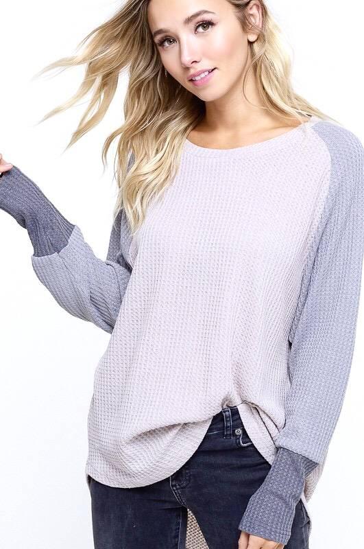 Lilac Ash/Grey Waffle Knit Top