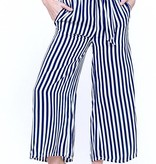 Navy Striped Cropped Pant