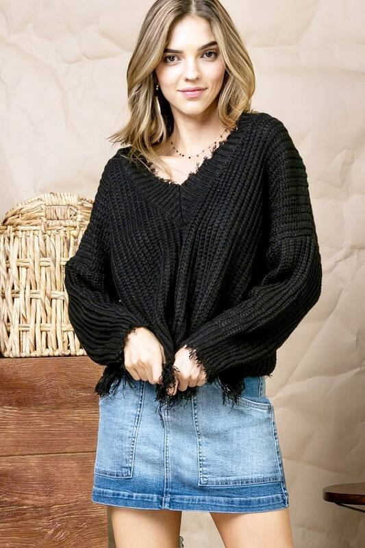 Cropped Fringe Sweater Black